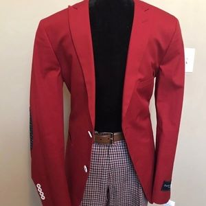 Red Paisley & Gray Slim fit blazer in size 40R.